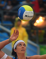 Aug. 10, 2008; Beijing, CHINA; Misty May-Treanor (USA) serves the ball against Japan during the womens beach volleyball at the Chaoyang Park Beach Volleyball Ground in the 2008 Beijing Olympic Games. The United States won the match. Mandatory Credit: Mark J. Rebilas-
