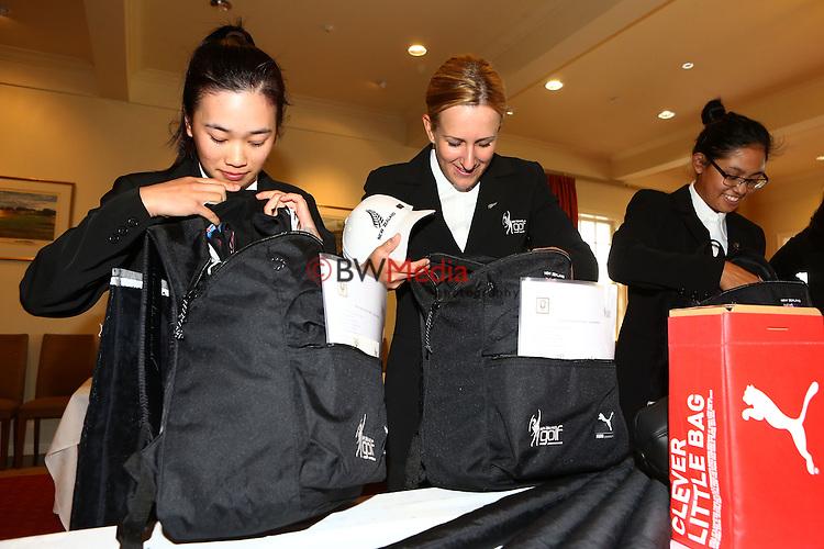 L_R- Munchin Keh,  Zoe Brake and Julianne Alvarez. Espirito Santo Team Photoshoot, Royal Auckland Golf Course, Manukau, Auckland, Friday 8 August 2014. Photo: Simon Watts/www.bwmedia.co.nz <br /> All images &copy; NZ Golf and BWMedia.co.nz