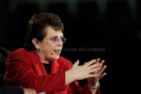 "Tennis legend Billie Jean King interviewed by LaDoris Cordell, Stanford vice provost for campus relations  April 28th, 2007 in Maples Pavilion. ""Title IX at 35: A Conversation with Billie Jean King"" is sponsored by the Aurora Forum and the Stanford Center on Ethics"