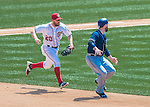 24 July 2016: Washington Nationals infielder Daniel Murphy gets Derek Norris caught in a rundown during a game against the San Diego Padres at Nationals Park in Washington, DC. The Padres defeated the Nationals 10-6 to take the rubber match of their 3-game, weekend series. Mandatory Credit: Ed Wolfstein Photo *** RAW (NEF) Image File Available ***