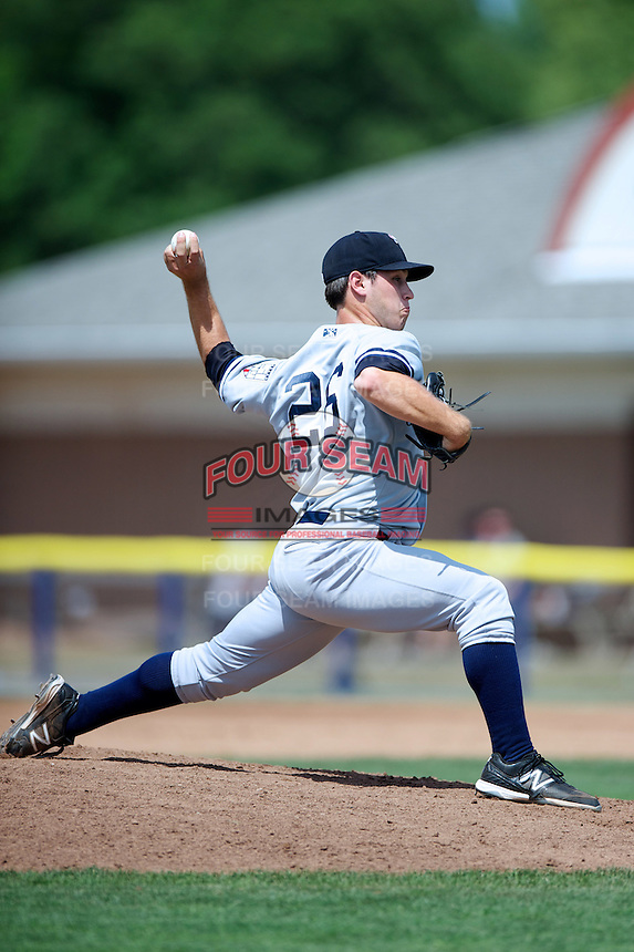 Staten Island Yankees Evan DeLuca #26 during a game against the Batavia Muckdogs at Dwyer Stadium on July 29, 2012 in Batavia, New York.  Batavia defeated Staten Island 10-2.  (Mike Janes/Four Seam Images)