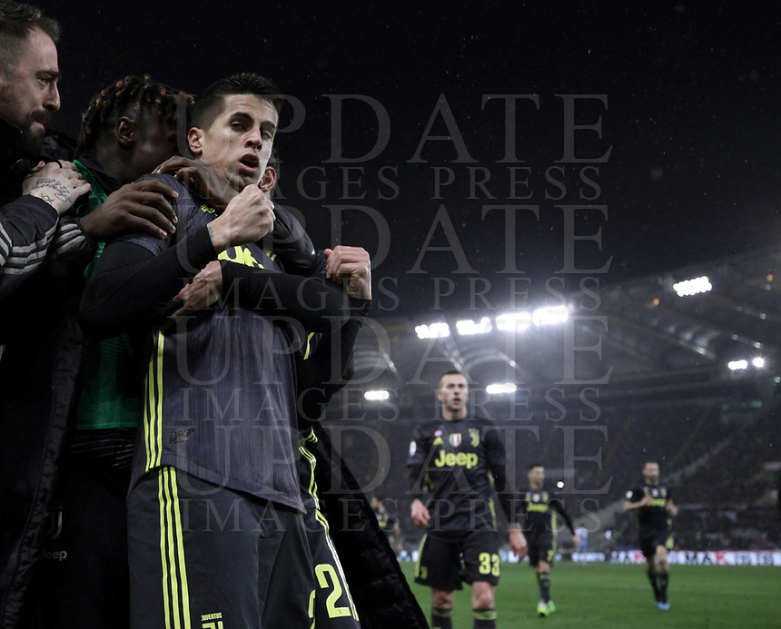 Football, Serie A: S.S. Lazio - Juventus, Olympic stadium, Rome, January 27, 2019. <br /> Juventus&rsquo; Joao Cancelo celebrates after scoring with his teammates during the Italian Serie A football match between S.S. Lazio and Juventus at Rome's Olympic stadium, Rome on January 27, 2019.<br /> UPDATE IMAGES PRESS/Isabella Bonotto
