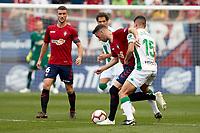 Kike Barja (forward; CA Osasuna) and Loureiro (defender; Córdoba CF) during the Spanish football of La Liga 123, match between CA Osasuna and Cordoba CF at the Sadar stadium, in Pamplona (Navarra), Spain, on Saturday, October 13, 2018.