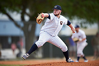 Western Connecticut Colonials starting pitcher Kyle Cole (18) delivers a pitch during the second game of a doubleheader against the Edgewood College Eagles on March 13, 2017 at the Lee County Player Development Complex in Fort Myers, Florida.  Edgewood defeated Western Connecticut 3-1.  (Mike Janes/Four Seam Images)