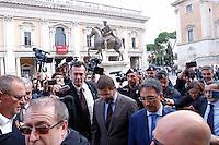 Ignazio Marino<br /> Roma 09-10-2015 Campidoglio, il Sindaco di Roma dimessosi ieri, esce dal Campidoglio per andare a celebrare un matrimonio. e viene accerchiato dai giornalisti e scortato dalla polizia<br /> The Mayor of Rome, who has just resign, get out of his office to celebrate a wedding, surrounded by journalists and police<br /> Photo Samantha Zucchi Insidefoto