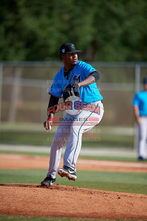 Miami Marlins pitcher Alberto Guerrero during a Minor League Spring Training Intrasquad game on March 28, 2019 at the Roger Dean Stadium Complex in Jupiter, Florida.  (Mike Janes/Four Seam Images)