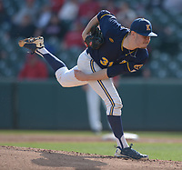 NWA Democrat-Gazette/ANDY SHUPE<br />Kent State starter Eli Kraus delivers to the plate Friday, March 9, 2018, against Arkansas during the first inning at Baum Stadium in Fayetteville. Visit nwadg.com/photos to see more photographs from the game.