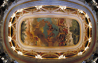 Ornate ceiling of the historic Manaus Opera House, Manaus, Brazil. Manaus Amazonas Brazil The Amazon.