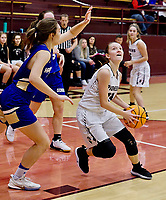 Westside Eagle Observer/RANDY MOLL<br />Guarded by Harrison senior Marion Groberg, Gentry senior Ariel Nix looks to shoot during play in Gentry on Friday, Jan. 24, 2020.