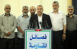 Senior Hamas leader Ismail Radwan, speaks during a press conference, in Gaza city on, June 18, 2019. Photo by Mahmoud Ajjour