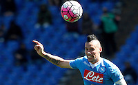 Calcio, Serie A: Roma vs Napoli. Roma, stadio Olimpico, 25 aprile 2016.<br /> Napoli's Marek Hamsik eyes the ball during the Italian Serie A football match between Roma and Napoli at Rome's Olympic stadium, 25 April 2016.<br /> UPDATE IMAGES PRESS/Riccardo De Luca