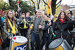 © Joel Goodman - 07973 332324 . 12/11/2016 . Manchester , UK . BEZ ( Mark Berry ) . Approximately 2000 people march and rally against Fracking in Manchester City Centre . Photo credit : Joel Goodman