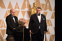 J. Miles Dale and Guillermo del Toro backstage with the Oscar&reg; for best motion picture for work on &ldquo;The Shape of Water&rdquo; during the live ABC Telecast of The 90th Oscars&reg; at the Dolby&reg; Theatre in Hollywood, CA on Sunday, March 4, 2018.<br /> *Editorial Use Only*<br /> CAP/PLF/AMPAS<br /> Supplied by Capital Pictures