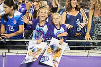 Orlando, Florida - Saturday, April 23, 2016: Orlando Pride fans wait for an autograph after an NWSL match between Orlando Pride and Houston Dash at the Orlando Citrus Bowl.