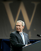 United States President George W. Bush smiles as he delivers his victory speech during an event at the Ronald Reagan Building, November 3, 2004 in Washington DC. After deciding not to contest the votes in the battleground state of Ohio, Democratic presidential candidate Senator John Kerry (Democrat of Massachusetts) called President Bush to concede and congratulated him.   <br /> Credit: Mark Wilson / Pool via CNP