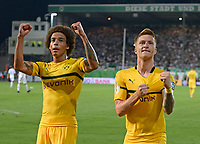 20.08.2018, Football DFB Pokal 2018/2019, 1. round, SpVgg Greuther Fuerth - Borussia Dortmund, Sportpark Ronhof in Fuerth. re:   2:1 of  Marco Reus (Dortmund). li: Axel Witsel (Dortmund).<br />