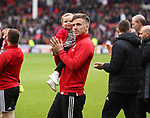Lee Evans of Sheffield Utd applauds the fans during the championship match at the Bramall Lane Stadium, Sheffield. Picture date 28th April 2018. Picture credit should read: Simon Bellis/Sportimage