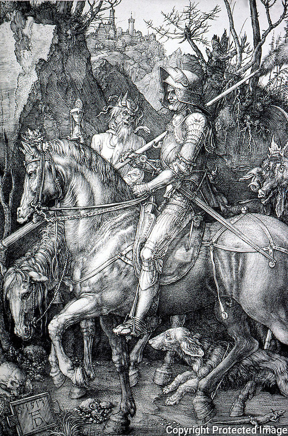 "Visual Arts:  Albrecht Durer--Knight, Death and the Devil.  ENGRAVING, 1573.  Interpreted as Christian Knight riding through the ""Valley of the Shadow of Death"".   Photo '91."