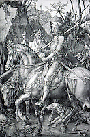 """Visual Arts:  Albrecht Durer--Knight, Death and the Devil.  ENGRAVING, 1573.  Interpreted as Christian Knight riding through the """"Valley of the Shadow of Death"""".   Photo '91."""