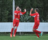 KSV De Ruiter : Jan Verhelst gefeleciteerd met zijn doelpunt door Clem Otte (rechts)<br /> foto VDB / Bart Vandenbroucke