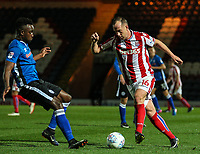 Stoke City's Charlie Adam vies for possession with Rochdale's Jordan Slew<br /> <br /> Photographer Juel Miah/CameraSport<br /> <br /> EFL Checkatrade Trophy - Northern Section Group C - Rochdale v Stoke City U23s - Tuesday 3rd October 2017 - Spotland Stadium - Rochdale<br />  <br /> World Copyright &copy; 2018 CameraSport. All rights reserved. 43 Linden Ave. Countesthorpe. Leicester. England. LE8 5PG - Tel: +44 (0) 116 277 4147 - admin@camerasport.com - www.camerasport.com