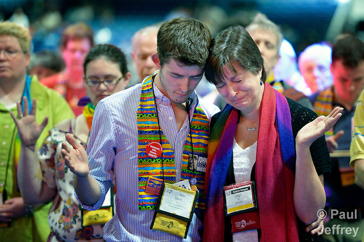 Dozens of demonstrators, including Steve and Leigh Dry of Lexington, Massachusetts, took over the floor of a May 3 session of the 2012 United Methodist General Conference in Tampa, Florida, demanding a more inclusive church. They held communion around the center table and sang songs, causing the presiding bishop to suspend the morning session. The demonstrators left at the beginning of the afternoon session after discussion with several women bishops, who publicly told the demonstrators that they felt the pain they had experienced as a result of the conference's actions to continue the denomination's position on homosexuality. Leigh Dry is an alternate delegate for the New England annual conference.