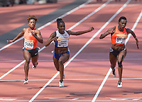 Dina Asher-Smith of GBR crosses the line as she makes a new British 200m record during the Sainsbury's Anniversary Games, Athletics event at the Olympic Park, London, England on 25 July 2015. Photo by Andy Rowland.
