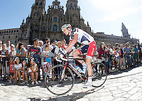Jurgen Van Den  Broeck passes by the front of the Obradoiro of the Cathedral of Santiago de Compostela before the stage of La Vuelta 2012 between Santiago de Compostela and Ferrol.August 31,2012. (ALTERPHOTOS/Acero)