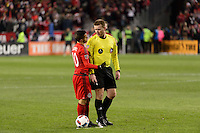 Toronto, ON, Canada - Saturday Dec. 10, 2016: Sebastian Giovinco, referee Alan Kelly during the MLS Cup finals at BMO Field. The Seattle Sounders FC defeated Toronto FC on penalty kicks after playing a scoreless game.