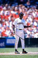 SAN FRANCISCO, CA - Deion Sanders of the San Francisco Giants in action during a game at Candlestick Park in San Francisco, California on July 30, 1995. Photo by Brad Mangin