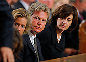 Boston, MA - August 29, 2009 -- (L-R) Kara Kennedy Allen, Edward Kennedy Jr. and Vicki Reggie Kennedy. during funeral services for U.S. Senator Edward Kennedy at the Basilica of Our Lady of  Perpetual Help in Boston, Massachusetts August 29, 2009.  Senator Kennedy died late Tuesday after a battle with cancer.  .Credit: Brian Snyder- Pool via CNP
