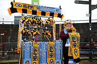 NEWPORT, WALES - FEBRUARY 16: A Scarf Seller prior to  kick off for the FA Cup Fifth Round match between Newport County and Manchester City at the Rodney Parade on February 16, 2019 in Newport, Wales. (Photo by Athena Pictures/Getty Images)