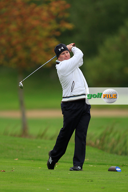 Noel Callan (Faughan Valley G.C) on the 15th tee during Round 4 of The Cassidy Golf 103rd Irish PGA Championship in Roganstown Golf Club on Sunday 13th October 2013.<br /> Picture:  Thos Caffrey / www.golffile.ie