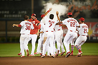 Springfield Cardinals left fielder Magneuris Sierra (29) is mobbed by teammates and doused with powder after a walk off single in the bottom of the ninth inning during a game against the Corpus Christi Hooks on May 30, 2017 at Hammons Field in Springfield, Missouri.  Teammates shown include Casey Grayson (38), Austin Gomber (31), Alex Mejia (7), Sandy Alcantara (22), and Casey Turgeon (21).  Springfield defeated Corpus Christi 4-3.  (Mike Janes/Four Seam Images)