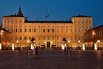 The Royal Palace of Turin, Italy at night