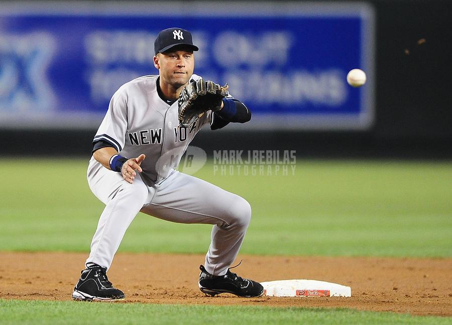 Jun. 22, 2010; Phoenix, AZ, USA; New York Yankees shortstop Derek Jeter against the Arizona Diamondbacks at Chase Field. Mandatory Credit: Mark J. Rebilas-