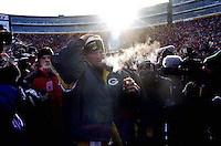 "Green Bay Packers quarterback Brett Favre leaves Lambeau Field after the Packers defeated the Carolina Panthers 30-13 in the NFC Championship on January 12, 1997. This was the first title game in Green Bay since the ""Ice Bowl"" in 1967."