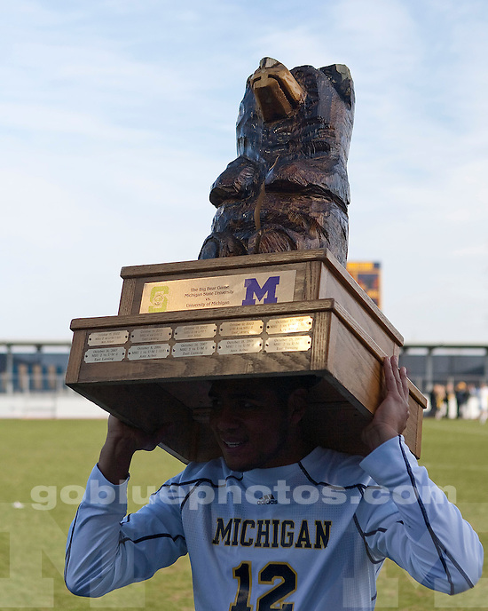 University of Michigan men's soccer 3-2 OT victory over Michigan State at the U-M Soccer Complex in Ann Arbor, MI, on October 30, 2010. The win secured the Big Bear trophy for the Wolverines for the first time since 2003.