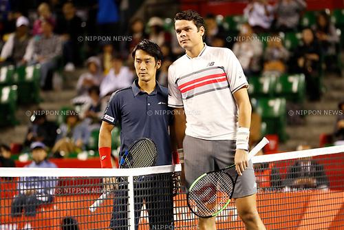 (L-R) Yuichi Sugita (JPN), Milos Raonic (CAN), <br /> OCTOBER 5, 2017 - Tennis : <br /> Rakuten Japan Open Tennis Championships 2017 <br /> Singles 2nd round match <br /> at Ariake Coliseum, Tokyo, Japan. <br /> (Photo by Yohei Osada/AFLO)