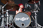 Jen Ledger of Skillet performs during the 2013 Rock On The Range festival at Columbus Crew Stadium in Columbus, Ohio.