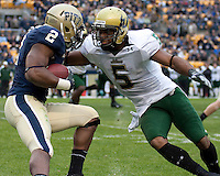 South Florida safety Nate Allen tackles Pittsburgh tight end Dorin Dickerson (2). The Pittsburgh Panthers defeated the South Florida Bulls 41-14 at Heinz Field, Pittsburgh, PA on October 24, 2009.