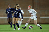 CHAPEL HILL, NC - NOVEMBER 16: A.B. Hawkins #8 of Belmont University is defended by Julia Dorsey #7 of the University of North Carolina during a game between Belmont and North Carolina at UNC Soccer and Lacrosse Stadium on November 16, 2019 in Chapel Hill, North Carolina.