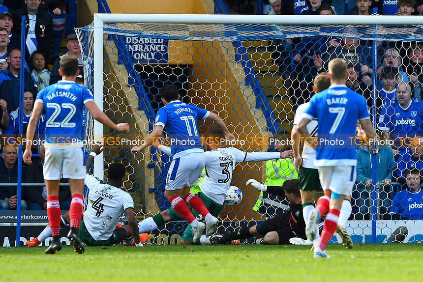 Gary Roberts of Portsmouth (11) scores the equaliser to make the score 1-1- during Portsmouth vs Plymouth Argyle, Sky Bet EFL League 2 Football at Fratton Park on 14th April 2017