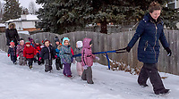 Bundled-up in winter clothing this young group of kids are heading to the Point Edward Arena for a free skate. There are about 20 children from the Early Learning Centre who take part in  the Wednesday morning learn to skate program. Thanks to Village council  a small army of volunteers and parents.