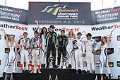 #54 CORE autosport ORECA LMP2, P: Jon Bennett, Colin Braun, #22 Tequila Patron ESM Nissan DPi, P: Pipo Derani, Johannes van Overbeek, #6 Acura Team Penske Acura DPi, P: Dane Cameron, Juan Pablo Montoya, podium