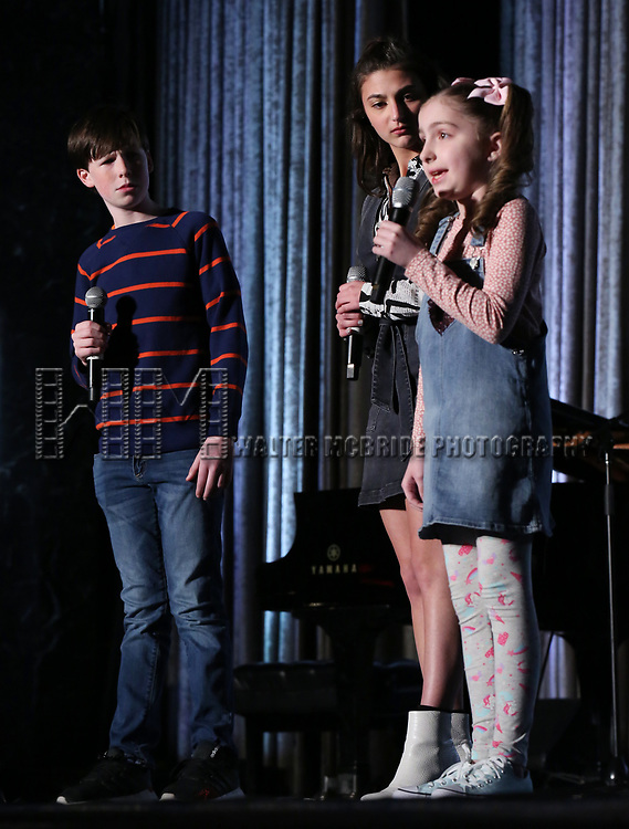 """Jake Ryan Flynn, Analise Scarpaci and Avery Sell from """"Mrs Doubtfire""""  during the BroadwayCON 2020 First Look at the New York Hilton Midtown Hotel on January 24, 2020 in New York City."""