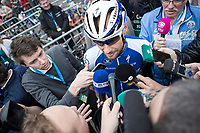 Tom Boonen (BEL/Quick Step Floors) attrackting a lot of press attention. He rides his last race on Belgian soil with the start in his hometown of Mol.<br /> <br /> 105th Scheldeprijs 2017 (1.HC)<br /> 1day race: Mol > Schoten 200km