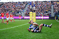 Max Clark of Bath Rugby celebrates his first-half try. Aviva Premiership match, between Bath Rugby and Saracens on December 3, 2016 at the Recreation Ground in Bath, England. Photo by: Patrick Khachfe / Onside Images
