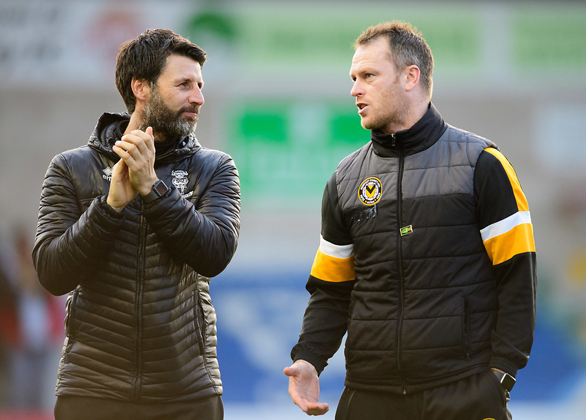 Lincoln City manager Danny Cowley, left, and Newport County manager Michael Flynn<br /> <br /> Photographer Chris Vaughan/CameraSport<br /> <br /> The EFL Sky Bet League Two - Lincoln City v Newport County - Saturday 22nd December 201 - Sincil Bank - Lincoln<br /> <br /> World Copyright © 2018 CameraSport. All rights reserved. 43 Linden Ave. Countesthorpe. Leicester. England. LE8 5PG - Tel: +44 (0) 116 277 4147 - admin@camerasport.com - www.camerasport.com