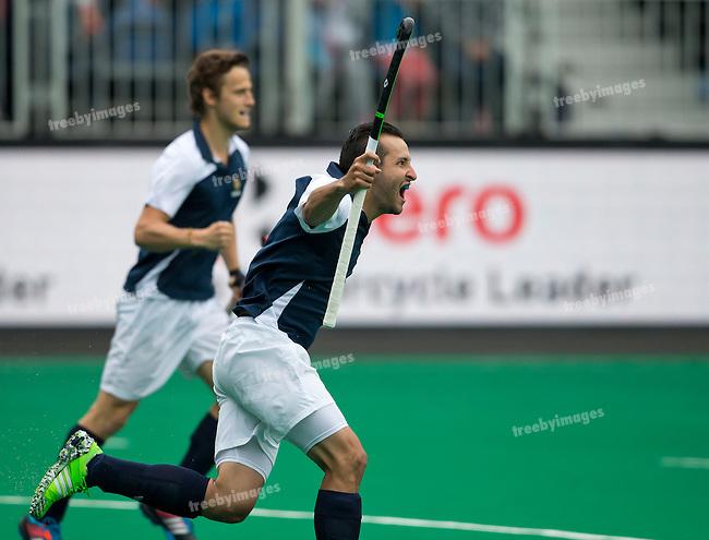 20/06/2015<br /> HWL Semi Final Antwerp Belgium 2015<br /> France v India Men<br /> Goal to Olivier Sanchez of France<br /> Photo: Grant Treeby